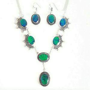 Jewelry - Sterling green blue triplet necklace earrings set